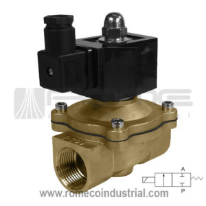 2W SOLENOID VALVE VALVULA SOLENOIDE PUERTO 1 BRONCE CON BOBINA AIRE, AGUA ACEITE PURGA