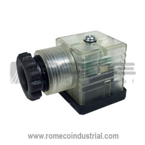 CONECTOR VALVULA DIN CON LED PARA BOBINA SOLENOIDE